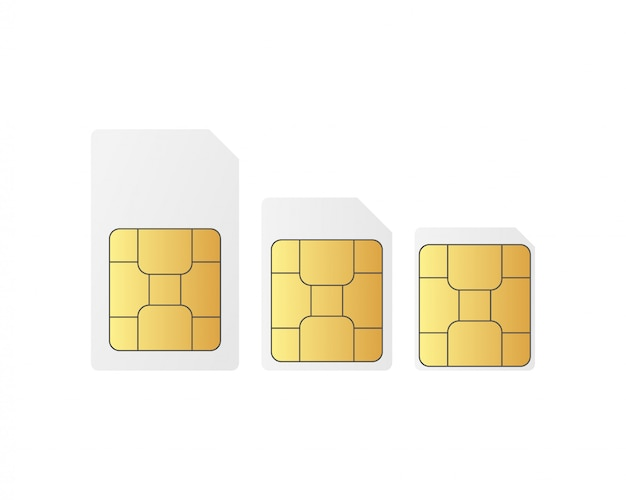 Definir chips de cartão sim standart, nano e micro sim.