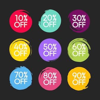Definir círculos texturizados abstratos desenhados à mão de cores diferentes, isolados no fundo branco
