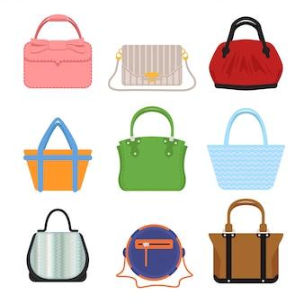 Definir clutch e bolsas femininas da moda em estilo diferente