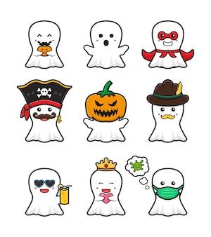 Definir coleção bonito fantasma ilustração do ícone dos desenhos animados de halloween. projeto isolado estilo cartoon plana