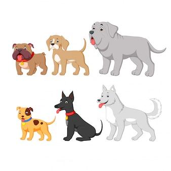 Definir coleção com cão bonito dos desenhos animados