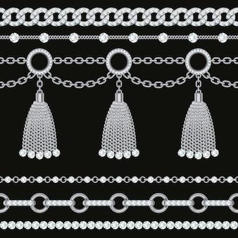 Definir coleção de bordas de corrente metálico prata com pedras preciosas e borlas.
