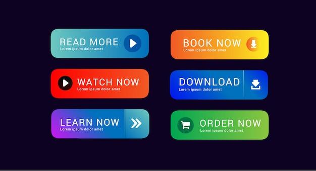 Definir coleção de botão de download assistir agora peça agora e leia mais para ativos de web design