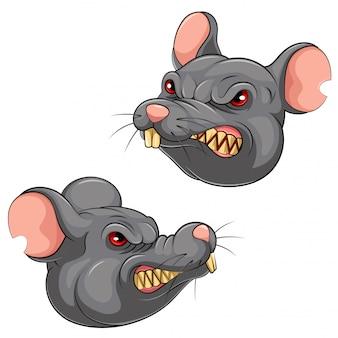 Definir coleção de cabeça de mascote de um rato