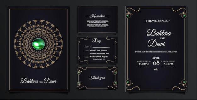 Definir coleção de cartão de convite de casamento de luxo