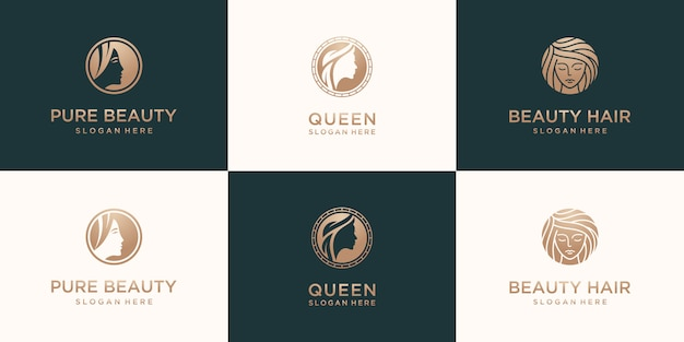 Definir coleção de design de logotipo gradiente ouro para mulher elegante cabeleireiro