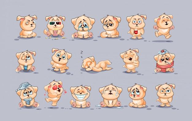 Definir coleção de kit ilustrações isoladas emoji personagem dos desenhos animados cachorro adesivos emoticons com emoções diferentes