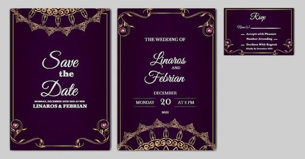 Definir coleção de modelo de cartão de convite de casamento de luxo bonito