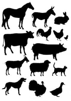 Definir coleção de silhuetas de animais de fazenda isolada no branco