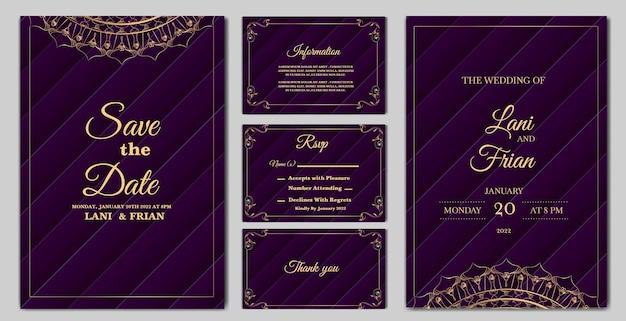 Definir coleção elegante modelo de cartão de convite de casamento