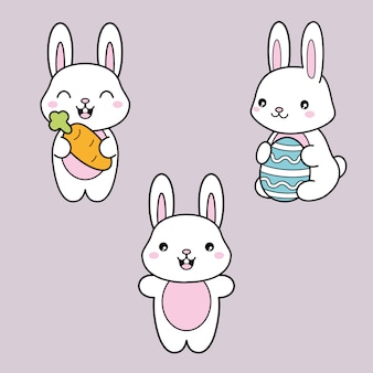 Definir coleção. kawaii coelhinho branco com cenoura e ovo de páscoa. Vetor Premium
