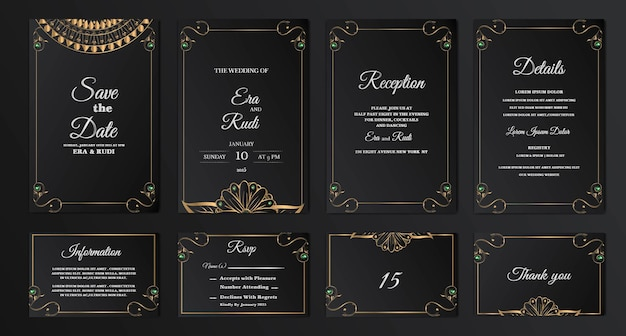 Definir coleção luxo salvar a data cartão de convite de casamento
