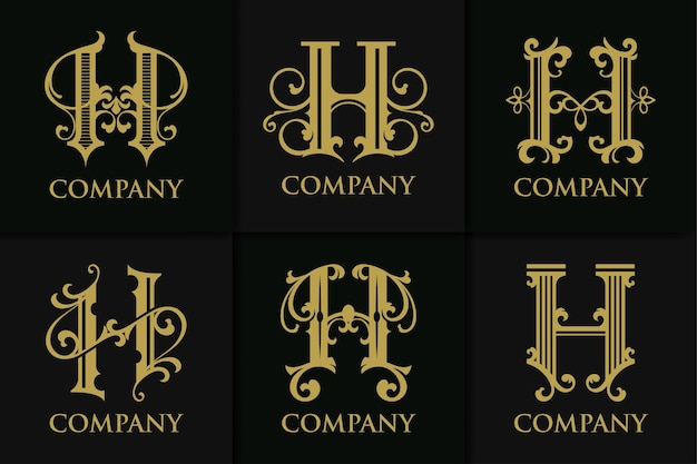 Definir coleção vintage da letra h do monograma