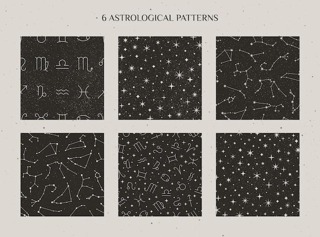 Definir constelações do zodíaco e padrão sem emenda de sinais de astrologia no fundo preto estrelado. cenários cósmicos de vetor.