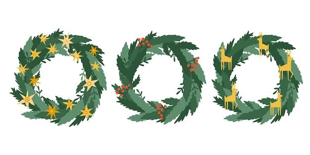 Definir coroas de decoração de natal, ramos verdes, pinheiros, bagas, estrelas, veados. coroa da porta. vetor guirlanda de natal isolada no fundo branco.