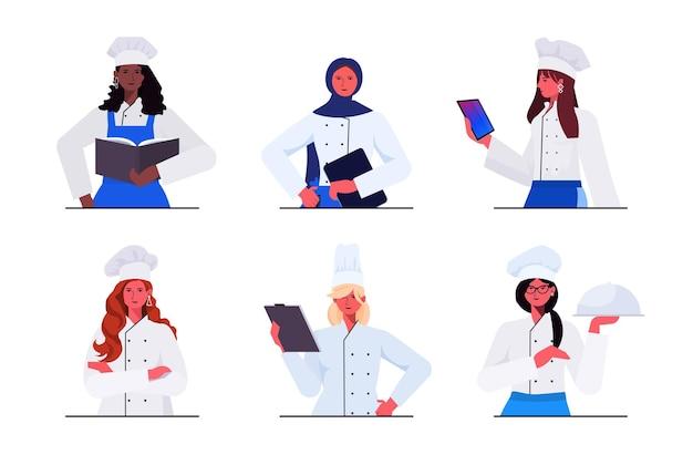 Definir cozinheiras de uniforme mulheres bonitas chefs cozinhar conceito da indústria de alimentos restaurante profissional cozinha trabalhadores coleção retrato ilustração vetorial horizontal