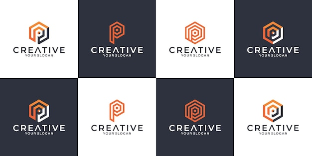 Definir criativo letra p símbolo logotipo design monograma hexágono com sombra