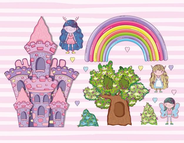 Definir criaturas fantásticas com arco-íris e castelo