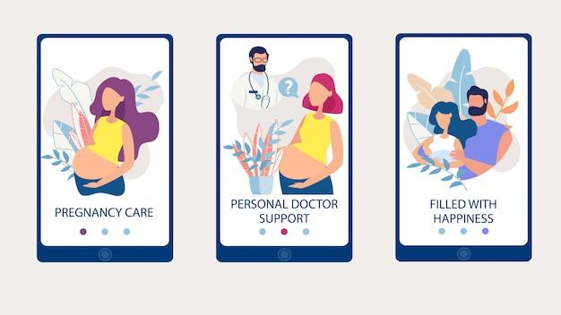 Definir cuidados de gravidez, apoio médico, preenchido feliz.