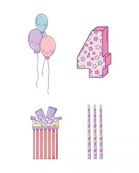 Definir decoração de aniversário com balões e velas