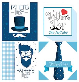 Definir decoração de cartão de pais para celebração do feriado