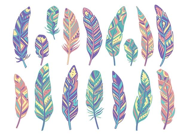 Definir decoração isolada abstrata de penas. estilo rústico boho. ilustração.