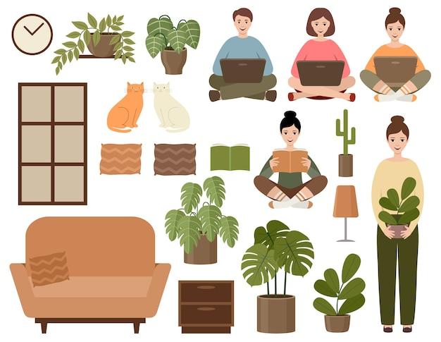 Definir decorações de casa hugge isoladas em branco