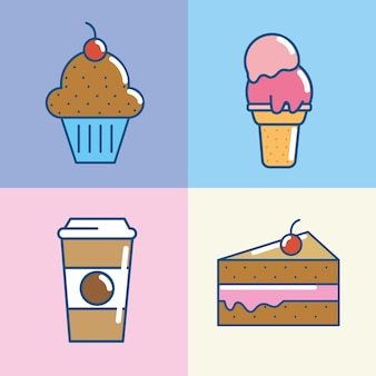 Definir deliciosa pastelaria comida do deserto
