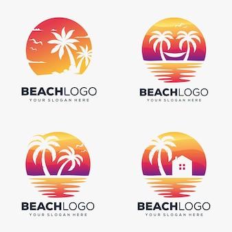 Definir design criativo de logotipo de praia e palm