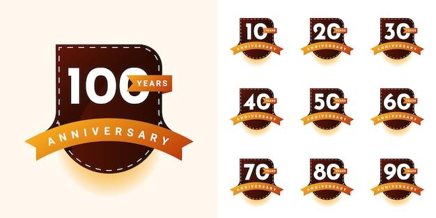 Definir design de aniversário de 10 a 100 anos