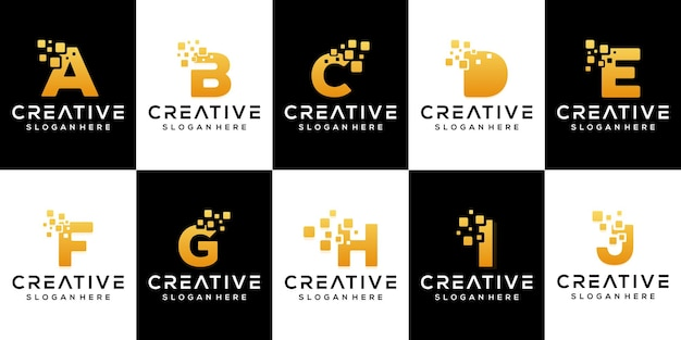 Definir design moderno de logotipo em letras douradas