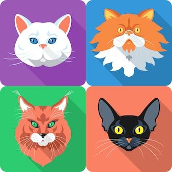 Definir design plano de ícone de gato