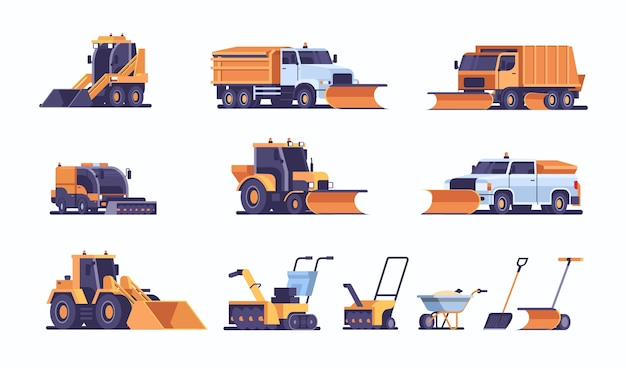 Definir diferente equipamento limpa-neve coleção de limpeza profissional estrada por queda de neve inverno conceito de remoção de neve plana horizontal ilustração vetorial