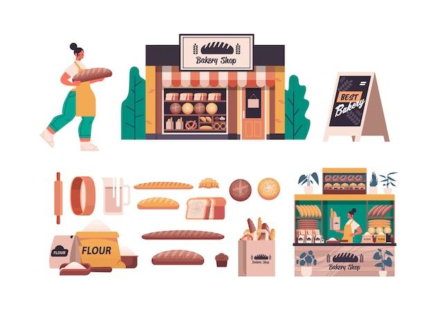 Definir diferentes produtos de pastelaria de padaria feminino padeiro de uniforme segurando conceito de cozimento de pão comprimento total isolado ilustração vetorial horizontal