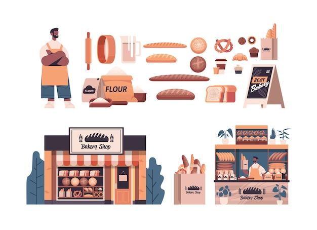 Definir diferentes produtos de pastelaria de padaria padeiro masculino em uniforme segurando conceito de cozimento de pão comprimento total isolado ilustração vetorial horizontal
