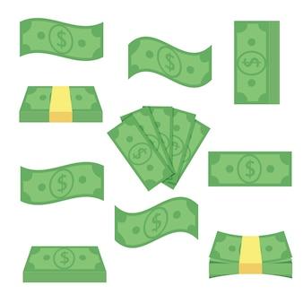 Definir dinheiro de notas diferentes. empilhe as contas, financie o dinheiro do montão - ilustração lisa. objetos de moeda isolados em um fundo branco