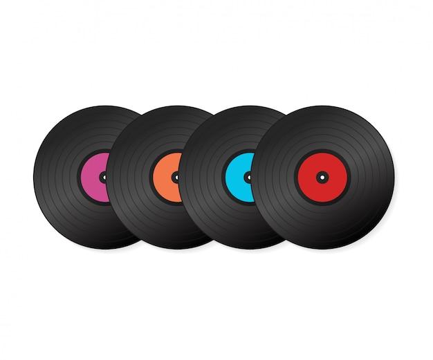 Definir disco de vinil realista com capa