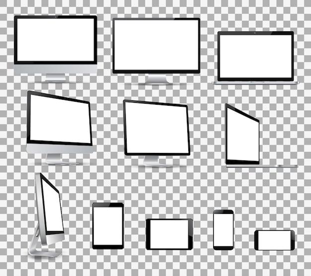 Definir dispositivos de tecnologia com tela branca