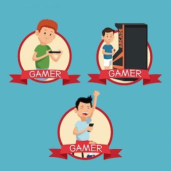 Definir divertidos gamers play video banner blue background