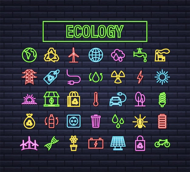 Definir ecologia, natureza. energia solar. salve o planeta. ilustração em vetor das ações.