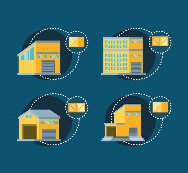 Definir edifícios de armazém com caixas de entrega