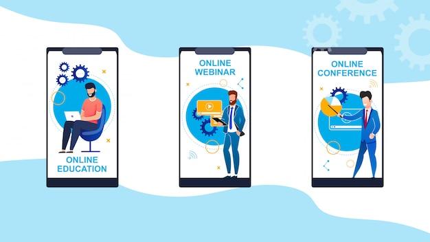 Definir educação on-line, webinar, cartoon de conferência.
