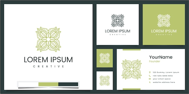 Definir elemento floral e folha circular, inspiração de design de logotipo