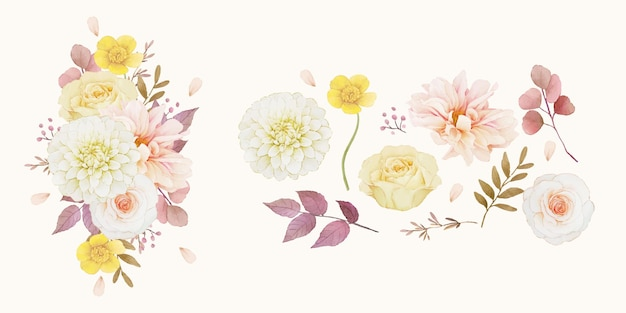 Definir elementos aquarela de outono de dália e rosas