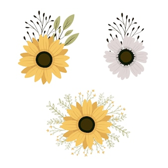 Definir elementos botânicos. flores silvestres, ervas, folhas, galhos. ilustração isolada sorteio de mão.
