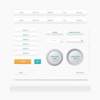 Definir elementos da web. site menu de navegação. modelo de design