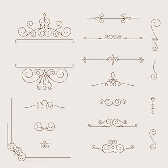 Definir elementos de design caligráfico e decoração de página, coleção vintage frame