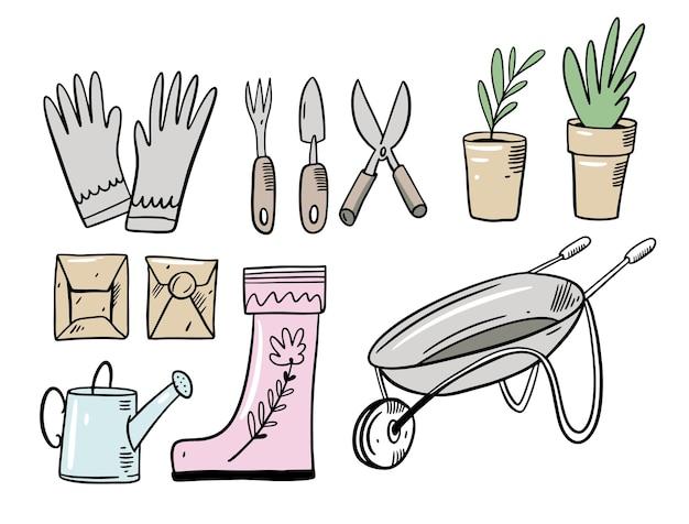Definir elementos de jardim do doodle. ilustração em estilo cartoon. isolado no fundo branco.