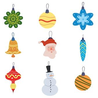 Definir elementos decorativos de bolas de brinquedos retrô de natal.