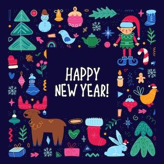 Definir elementos do feriado de feliz natal feliz ano novo coleção ilustração bonita composição quadrada